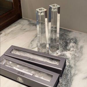 Oleg Cassini candle sticks pair crystal
